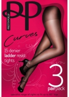 Pretty Polly Curves 15D Ladder Resist Tights 3 Pair Pack